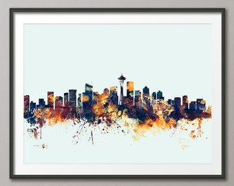 Seattle Skyline, Seattle Washington Cityscape Art Print (1586)