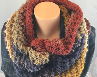 Infinity scarf, crochet cowl scarf, circle scarf, wrap scarf, tube scarf, snood, oversize cowl scarf, neck warmer, lightweight scarf, scarf