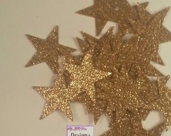 100 - 3/4 inch  Gold Glitter Star Die Cuts, Wedding Gold Confetti, Country Star Cut Outs- Outdoor Star Dies, Baby Shower, Twinkle Star
