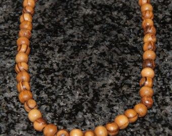 Simple olive wood necklace, meditation necklace, stretchy cord