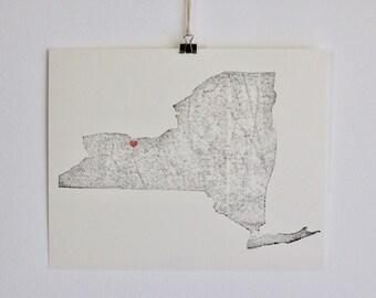 New York Map / New York City / New York Print / New York Home / New York Love / New York Art / New York Home Decor / New York Wedding Gift