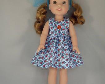 Blue Flower with Orange Dot Doll Dress Handmade To Fit 14.5 Inch Dolls Like Wellie Wishers