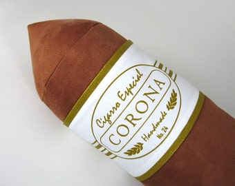 Corona Cigar Pillow Light Brown with White and Gold Band 8 x 24 inches