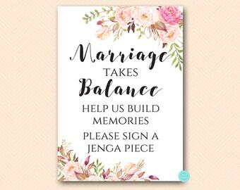 Boho Floral Marriage takes balance, Build memories, sign a block, Guestbook Alternative, Build Memories Sign a Jenga Piece BS546