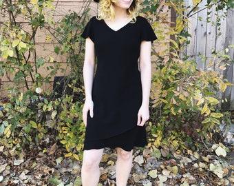 70s Vintage Little Black Dress with a V-neck