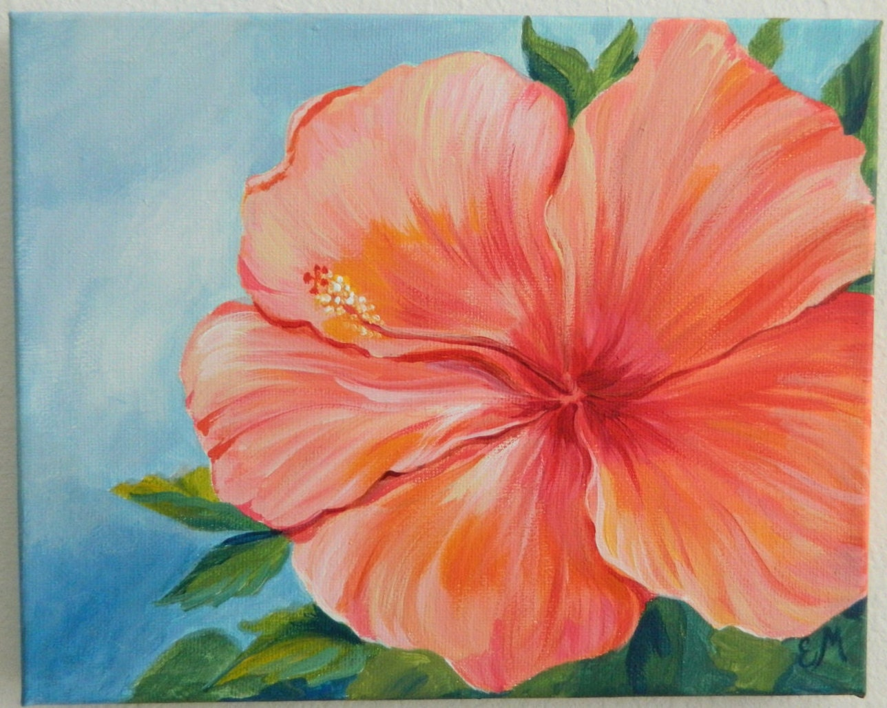 Coral hibiscus flower painting flower painting gift hibiscus zoom izmirmasajfo Images