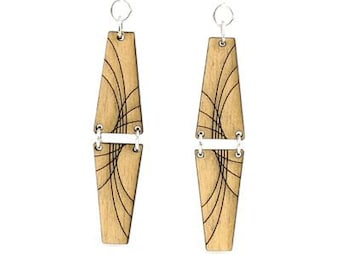 Mirror Pyramid Dangle Earrings - Laser Cut Wood