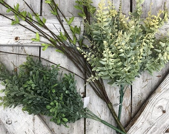 Greenery, Silk Flower Greenery for wreaths, Silk Flower Greenery, Greenery for wreaths, Greenery Stems, artificial greenery, fake greenery