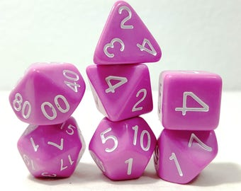 Perfect Plastic Dice - Gloss Polish with Ink - Pink / White Ink