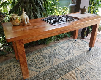 Mahogony Outdoor Kitchen Bench With 4 Burner Gas Stove