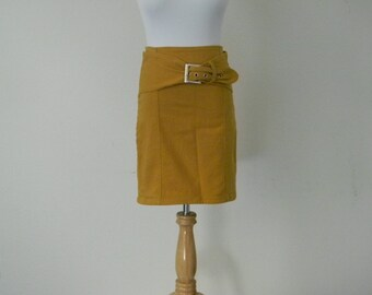 FREE usa SHIPPING Vintage golden yellow denim jean retro 1990's mini skirt cotton buckle  belt spandex size 7