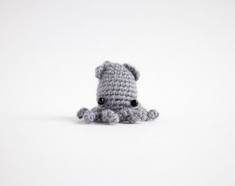 crochet squid plush - miniature amigurumi animal
