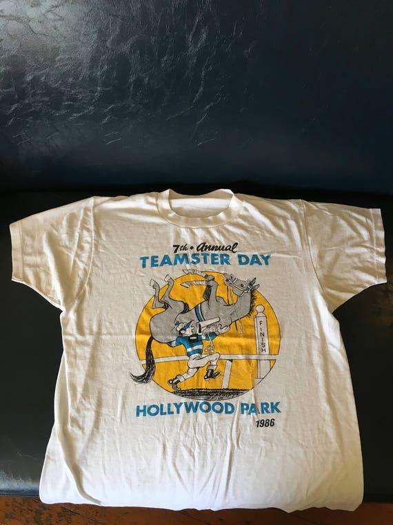 vintage 1986 hollywood park teamster day shirt, soft, worn shirt
