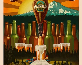Corvallis, Oregon - Beervana Tap (Art Prints available in multiple sizes)