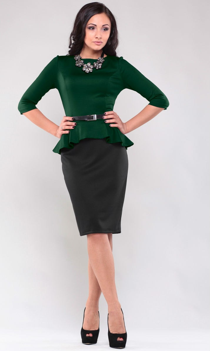 Dunkles Grün Kleid schwarz Rock Herbst Kleid Büro Business