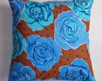 Handmade Throw Pillow Cover, Large Blue Roses Toss Pillow Cover, Handmade Floral Accent Pillow Cover, Pretty Blue Roses Cushion Cover