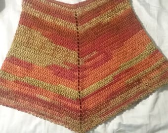Poncho, Autumn Shades Poncho, Variegated yarn, Green, Rust, Red, Brown, Women's Poncho, Fits size Small - Large