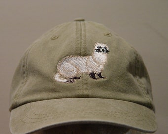 Black Footed Ferret Hat - One Embroidered Wildlife Cap - Price Embroidery Apparel - 24 Color Caps Available