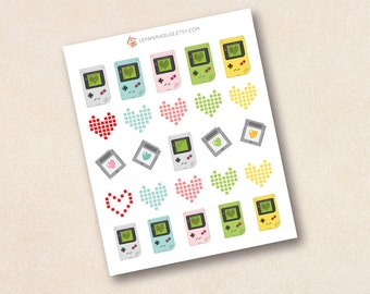 Gameboy stickers, 25 x matte or glossy planner stickers, life planner stickers, erin condren filofax, mambi happy planner