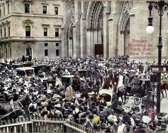 c.1911 New York City Street Life ~ FIFTH Avenue Passers By, Sunday Churchgoers; In Excellent Postally Used Condition.