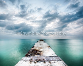 Infinity- Seascape Photography Print-Pier/Coastal Beach Ocean water nautical