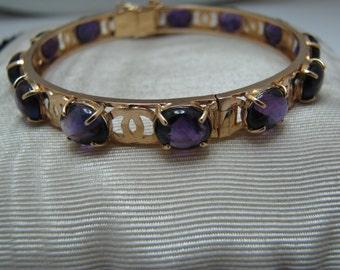 a717 Gorgeous Amethyst Hinged 18k Gold Bracelet