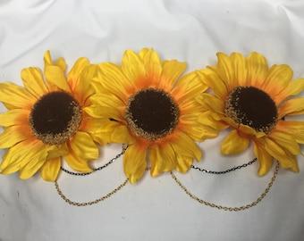 Sunflower Crown w/ Gold Chains