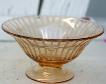 Vintage Etched Glass Bowl Compote Candy Dish