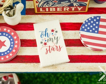 Made to Order Miniature 4th of July Oh My Stars Tea Towel - 1:12 Dollhouse Miniature