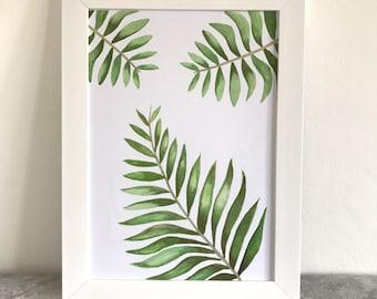 A4 botanical print, summer print, fern print,home print,home decor,leaf print ,modern art, watercolour print, modern print, botanical art