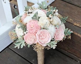 Alternative Wedding Bouquet - Sola Flower Bouquet, Luxe Collection Ivory Blush Dusty Miller Raw Cotton Keepsake Bouquet, Wood Bouquet