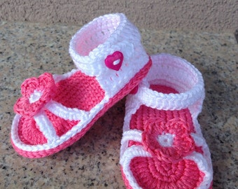 Crochet baby sandals, baby girls sandals, handmade baby sandals