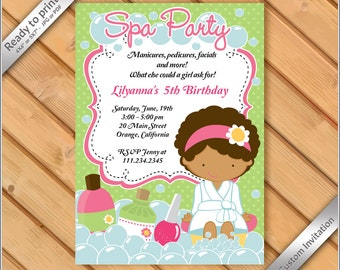 Spa party invitation etsy 50 off sale spa party invitations for girls makeover or manicure pedicure birthday party african american girl spa party invitation filmwisefo
