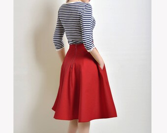 Red Cotton Sateen flared skirt, Midi skirt, Red Skirt with Pockets