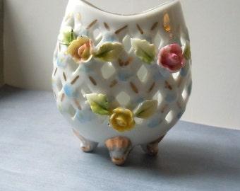 Vintage Porcelain Vase Pierced with Roses