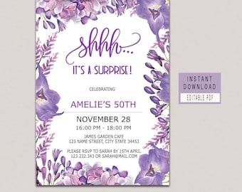 Purple Party Invite Etsy - Purple birthday invitations template