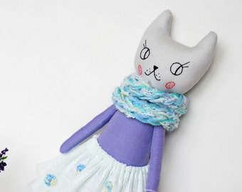 "Cat Doll, cat doll in handmade, cat rag doll 16"", Fabric cat toy, linen toys, stuffed animal toys, heirloom doll, girl's birthday gift"