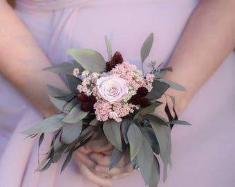 Dried Flower Bouquet | Single Flower Bouquet|Small Bridesmaid Bouquet | Burgundy Blush Bouquet | The Salina Belle Collection Petite Bouquet