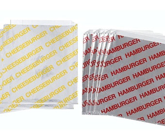 "50 qty. Foil  Cheeseburger and Hamburger Bags, French Fry Bags, and Ketchup Cup Combo/Foil Bags/Bags/Take Out Bags 6"" x 1"" x 6 1/2"""