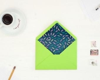 Envelope liner template, 11 Sizes, Liner template, DIY Envelope Liner, Leaf illustration