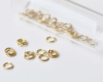 100 pcs Anti Tarnish 24K Gold Plated Brass Jump Rings 6mm 19gauge A8593
