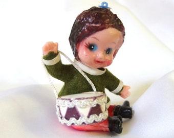 Vintage Christmas Ornament, Swivel Waisted Plastic Drummer Ornament