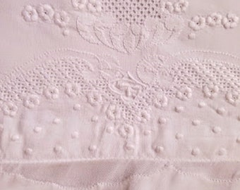 "Euro Vintage Linen Pillow Cover Embroidered Crochet Trim 31"" Square Hand stitched"