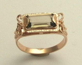 14K Rose Gold Ring, smokey quartz ring, gemstone ring, rectangle ring, engagement ring, wedding ring - The sky is the limit - RG1400-2