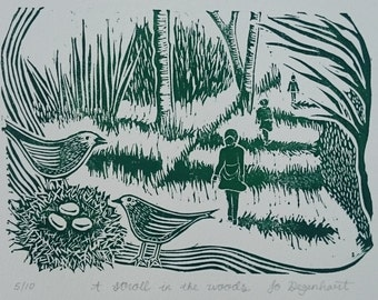 A Stroll in the Woods Limited Edition Lino Print