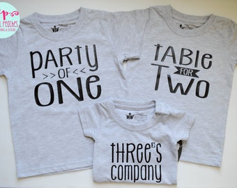 Sibling Shirts Set of Three Triplets Brother Sister Birth Announcement Baby Shower Gift Party of One Table for Two Three's Company