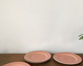 set of 4 mid century coral dinner plates