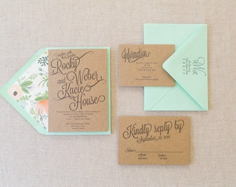 Letterpress Chip Board Wedding Invitation Suite with Floral Envelope Liner SAMPLE