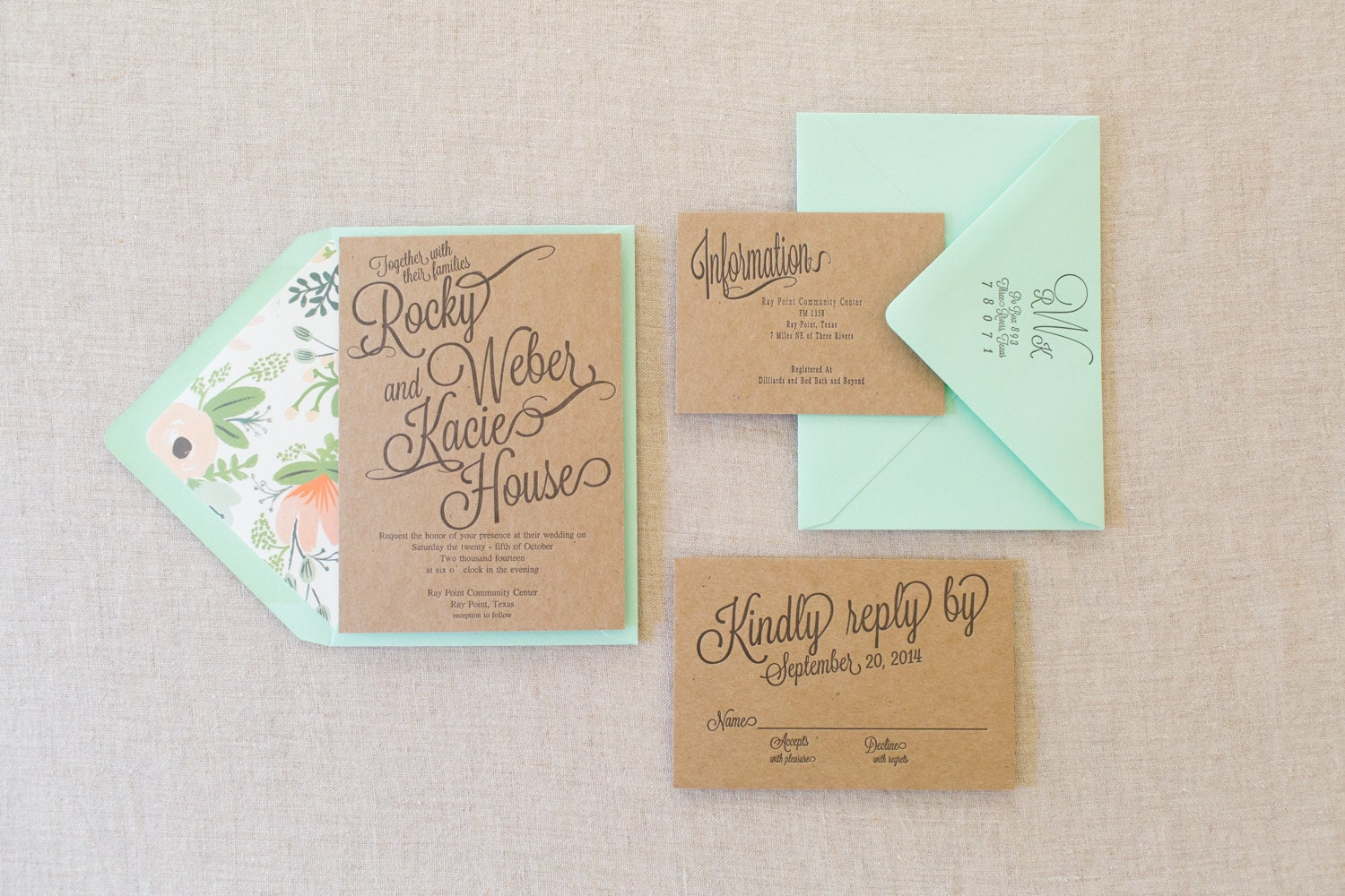 Letterpress Chip Board Wedding Invitation Suite with Floral