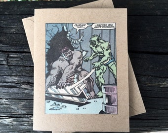 "Vintage Marvel Avengers Incredible HULK ""Give me that - Before you hurt somebody."" Comic Book Greeting Card (Blank)"